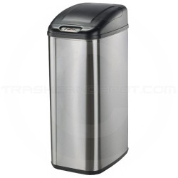 "Nine Stars DZT-50-6 Infrared Touchless Waste Receptacle - 13.2 Gallon Capacity - 15"" L x 11"" W x 28"" H - Stainless Steel with Black Top"