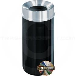 "Glaro F1533 Mount Everest Funnel Top Trash Can - 16 Gallon Capacity - 15"" Dia. x 33"" H - Satin Aluminum Cover"