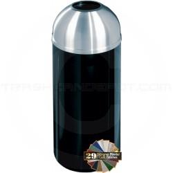 "Glaro T1536 Mount Everest Open Dome Top Trash Bin - 16 Gallon Capacity - 15"" Dia. x 36"" H - Satin Aluminum Cover"