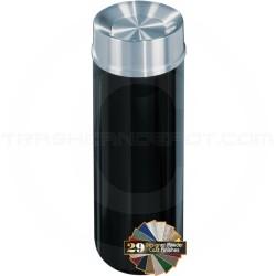 "Glaro TA1232 Mount Everest Tip Action Top Trash Receptacle - 12 Gallon Capacity - 12"" Dia. x 32"" H - Satin Aluminum Cover"