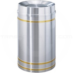 "Glaro TA2034SA Capri WasteMaster Tip Action Top Garbage Can - 33 Gallon Capacity - 20"" Dia. x 36"" H - Satin Aluminum with Satin Brass Bands"