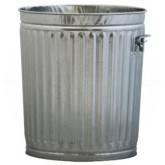 """Witt Industries 10GPC Light Duty Pregalvanized Metal Trash Can with Handle - 10 Gallon Capacity - 16"""" Dia. x 17 1/4"""" H"""