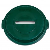 "Rubbermaid 1788379 BRUTE Paper Recycling Top for 32 Gallon Brute Containers - 22 1/4"" Dia. x 2 3/4"" H - Dark Green in Color"