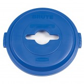 "Rubbermaid 1788380 BRUTE Single Stream Recycling Top for 32 Gallon Brute Containers - 22 1/4"" Dia. x 2 3/4"" H - Blue in Color"