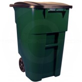 Rubbermaid 1829411 BRUTE Rollout Container with Lid - 50 Gallon Capacity - Dark Green in Color