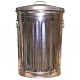 """Witt Industries 2200CL Economy Galvanized Metal Trash Can with Lid - 20 Gallon Capacity - 17 5/8"""" Dia. x 27"""" H"""