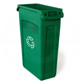 "Rubbermaid FG354007GRN Slim Jim Recycling Container with Venting Channels - 23 Gallon Capacity - 22"" L x 11"" W x 30"" H - Green in Color"