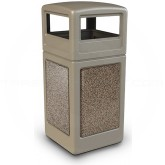 "Commercial Zone 72041599 StoneTec Aggregate Trash Can with Dome Lid - 42 Gallon Capacity - 18 1/2"" Sq. x 41 3/4"" H - Beige with Riverstone Panels"