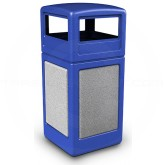 "Commercial Zone 72043099 StoneTec Aggregate Trash Can with Dome Lid - 42 Gallon Capacity - 18 1/2"" Sq. x 41 3/4"" H - Blue with Ashtone Panels"