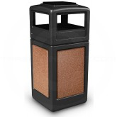 "Commercial Zone 72051499 StoneTec Aggregate Trash Can with Ash/Trash Dome Lid - 42 Gallon Capacity - 18 1/2"" Sq. x 42 1/4"" H - Black with Sedona Panels"