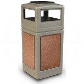 "Commercial Zone 72051699 StoneTec Aggregate Trash Can with Ash/Trash Dome Lid - 42 Gallon Capacity - 18 1/2"" Sq. x 42 1/4"" H - Beige with Sedona Panels"
