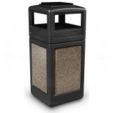 "Commercial Zone 72055299 StoneTec Aggregate Trash Can with Ash/Trash Dome Lid - 42 Gallon Capacity - 18 1/2"" Sq. x 42 1/4"" H - Black with Riverstone Panels"