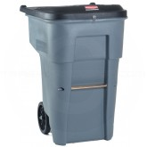 Rubbermaid FG9W1188GRAY BRUTE Confidential Document Rollout Container with Keyed Lock Lid - 95 Gallon Capacity - Gray in Color