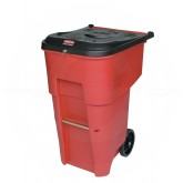 Rubbermaid FG9W1900RED BRUTE Medical Waste Rollout Container with Keyed Lock Lid - 65 Gallon Capacity - Red in Color