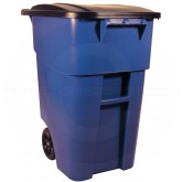 Rubbermaid FG9W2700BLUE BRUTE Rollout Container with Lid - 50 Gallon Capacity - Blue in Color