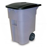Rubbermaid FG9W2700GRAY BRUTE Rollout Container with Lid - 50 Gallon Capacity - Gray in Color