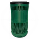 """Witt Industries SC35-01-FT Stadium Series Waste Receptacle with Flat Top Lid - 35 Gallon Capacity - 18 1/2"""" Dia. x 33 3/4"""" H"""