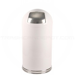"""Witt Industries 12DTWH Dome Top Waste Receptacle with Push Door - 15"""" Dia. x 29"""" H - 12 Gallon Capacity - White in Color"""