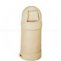 """Continental 1305BE Round Top Trash Can - 18 Gallon Capacity - 16"""" Dia. x 37 1/2"""" H - Beige in Color"""