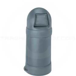 """Continental 1305GY Round Top Trash Can - 18 Gallon Capacity - 16"""" Dia. x 37 1/2"""" H - Gray in Color"""