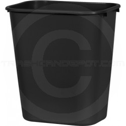 "Continental 1358BK Rectangular Plastic Wastebasket - 13 5/8 Quart Capacity - 11 1/4"" W x 8 1/4"" D x 12 1/4"" H - Black in Color"