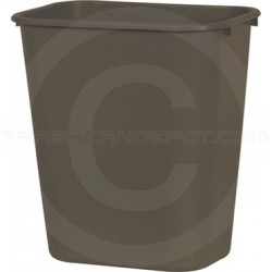 "Continental 1358BN Rectangular Plastic Wastebasket - 13 5/8 Quart Capacity - 11 1/4"" W x 8 1/4"" D x 12 1/4"" H - Brown in Color"