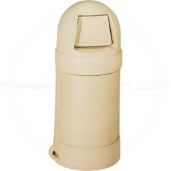 """Continental 1425BE Round Top Trash Can - 24 Gallon Capacity - 18"""" Dia. x 41 1/2"""" H - Beige in Color"""
