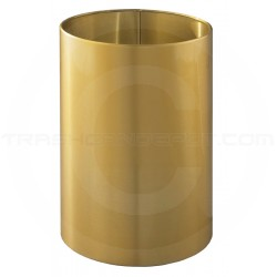 "Glaro 1523BE Open Top Wastebasket - 18 Gallon Capacity - 15"" Dia. x 23"" H - Satin Brass"