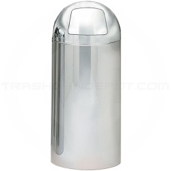 "Witt Industries 15DT-PM Monarch Series Dome Top Trash Can with Push Door - 15"" Dia. x 35"" H - 15 Gallon Capacity - Mirror Chrome in Color"
