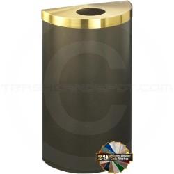 "Glaro 1892VBVBE Value Half Round Waste Container with 5 1/2"" Diameter Opening - 16 Gallon Capacity - 30"" H x 18"" W x 9"" D - Bronze Vein with Satin Brass Top"