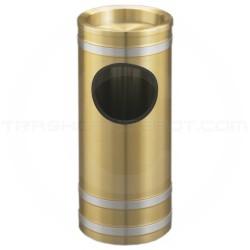 "Glaro 194BE Capri WasteMaster Ash/Trash Receptacle with Sand Tray Top - 3 Gallon Capacity - 9"" Dia. x 23"" H - Satin Brass with Satin Aluminum Bands"