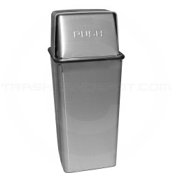 """Witt Industries 21HTSS Push Top Trash Can - 15"""" Sq. x 37"""" H - 21 Gallon Capacity - Stainless Steel"""