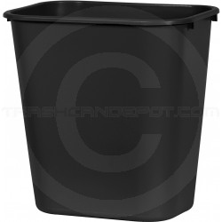 "Continental 2818BK Rectangular Plastic Wastebasket - 28 1/8 Quart Capacity - 14 1/2"" W x 10 1/2"" D x 15"" H - Black in Color"