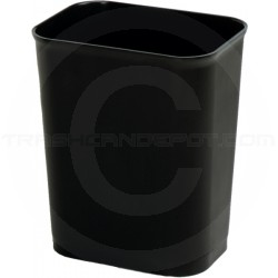 "Continental 2914BK Fire Resistant Wastebasket - 14 Quart Capacity - 11"" L x 7 7/8"" W x 12 1/4"" H - Black in Color"
