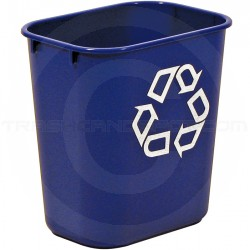 "Rubbermaid 2955-73 Recycle Wastebasket - 13 5/8 Quart Capacity - 11 3/8"" L x 8 1/4"" W x 12 1/8"" H - Blue in Color"