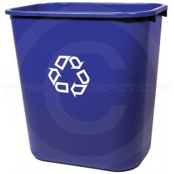 """Rubbermaid 2956-73 Recycling Wastebasket - 28 1/8 Quart Capacity - 14 3/8"""" L x 10 1/4"""" W x 15"""" H - Blue in Color"""