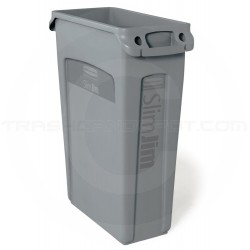 "Rubbermaid FG354060GRAY Slim Jim Waste Container with Venting Channels - 23 Gallon Capacity - 22"" L x 11"" W x 30"" H - Gray in Color"