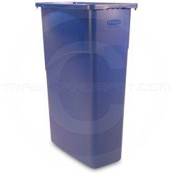 "Rubbermaid FG354000BLUE Slim Jim Waste Container - 23 Gallon Capacity - 20"" L x 11"" W x 30"" H - Blue in Color"