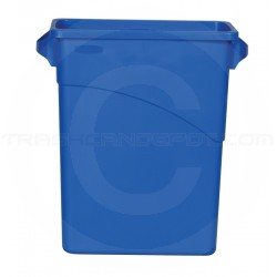 """Rubbermaid FG354100BLUE Slim Jim Waste Container with Handles - 15 7/8 Gallon Capacity - 23 1/8"""" L x 11"""" W x 24 7/8"""" H - Blue in Color"""