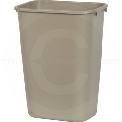 """Continental 4114BE Rectangular Plastic Wastebasket - 41 1/4 Quart Capacity - 15 1/4"""" W x 11"""" D x 19 7/8"""" H - Beige in Color"""