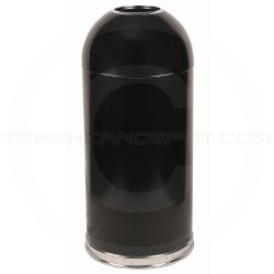 "Witt Industries 415DT-BK Open Top Waste Receptacle - 15"" Dia. x 35"" H - 15 Gallon Capacity - Black in Color"