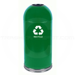 "Witt Industries 415DT-GN-R Open Top Recycling Container - 15"" Dia. x 35"" H - 15 Gallon Capacity - Green in Color"