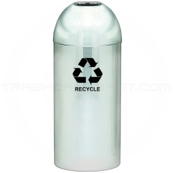 """Witt Industries 415DT-PM-R Open Top Recycling Container - 15"""" Dia. x 35"""" H - 15 Gallon Capacity - Mirror Chrome in Color"""