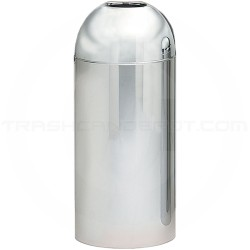 "Witt Industries 415DT-PM Monarch Series Open Top Waste Receptacle - 15"" Dia. x 35"" H - 15 Gallon Capacity - Mirror Chrome in Color"