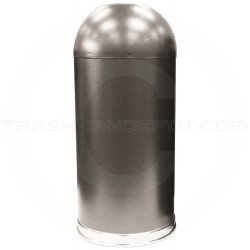 """Witt Industries 415DT-SVN Open Top Waste Receptacle - 15"""" Dia. x 35"""" H - 15 Gallon Capacity - Silver Vein in Color"""