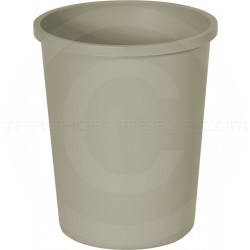 "Continental 4438BE Round Wastebasket - 44 3/8 Quart Capacity - 15 3/4"" Dia. x 18 3/4"" H - Beige in Color"