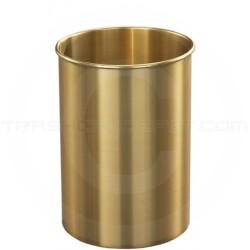 "Glaro 65BE Atlantis WasteMaster Wastebasket - 4 Gallon Capacity - 9"" Dia. x 14"" H - All-Weather Satin Brass"