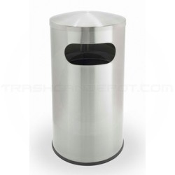 "Commercial Zone 780329 Precision Series Allure Dome Waste Receptacle - 15 Gallon Capacity - 15 3/4"" Dia. x 30"" H - Stainless Steel"