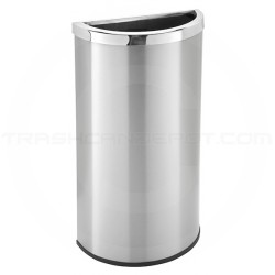 """Commercial Zone 780929 Precision Series Half Moon Open Top Waste Receptacle - 8 Gallon Capacity - 13 1/2"""" L x 6 3/4"""" W x 26"""" H  - Stainless Steel"""
