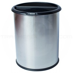 """Commercial Zone 781029 Precision Series InnRoom Classic Smooth Recycling Receptacle - 3.2 Gallon Capacity - 10 1/2"""" Dia. x 12 3/4"""" H - Stainless Steel"""